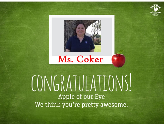 Congratulations Ms. Coker on being our August Family of the Month!