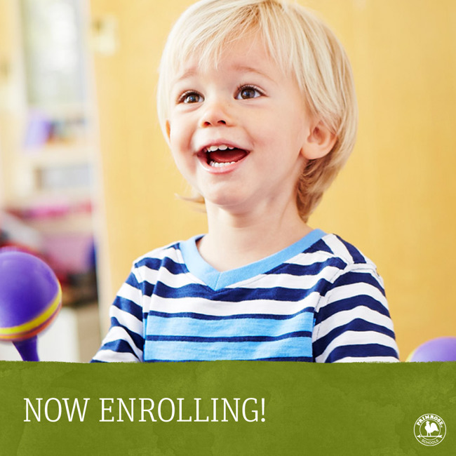 Now enrolling poster featuring a smiling toddler playing the shakers