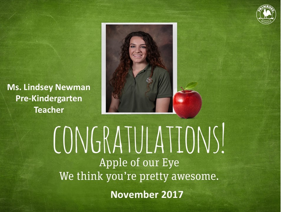 Apple of our eye poster featuring Ms. Lindsey Newman