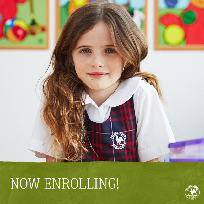 Now enrolling poster featuring a young, smiling Primrose student