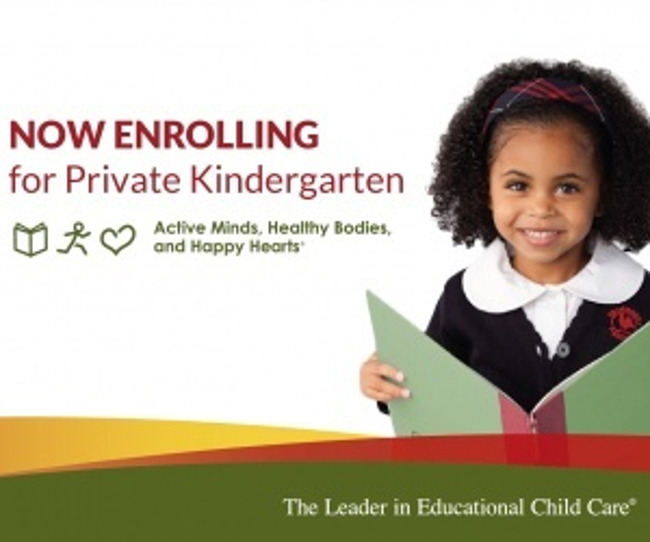 Now enrolling for private kindergarten poster featuring a smiling Primrose student sitting with a book on her lap