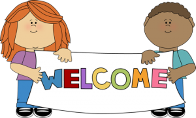 "A cartoon girl and boy hold a banner between them that says ""welcome"" in rainbow-colored letters"