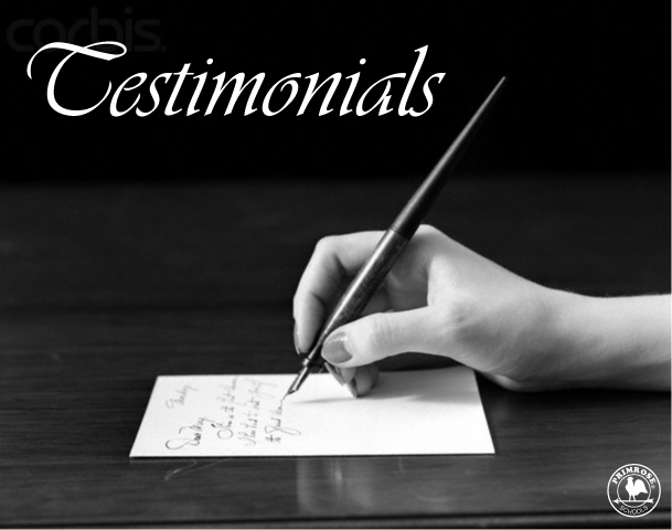 "Poster labelled ""testimonials"" with a close up image of a hand holding a calligraphy pen"
