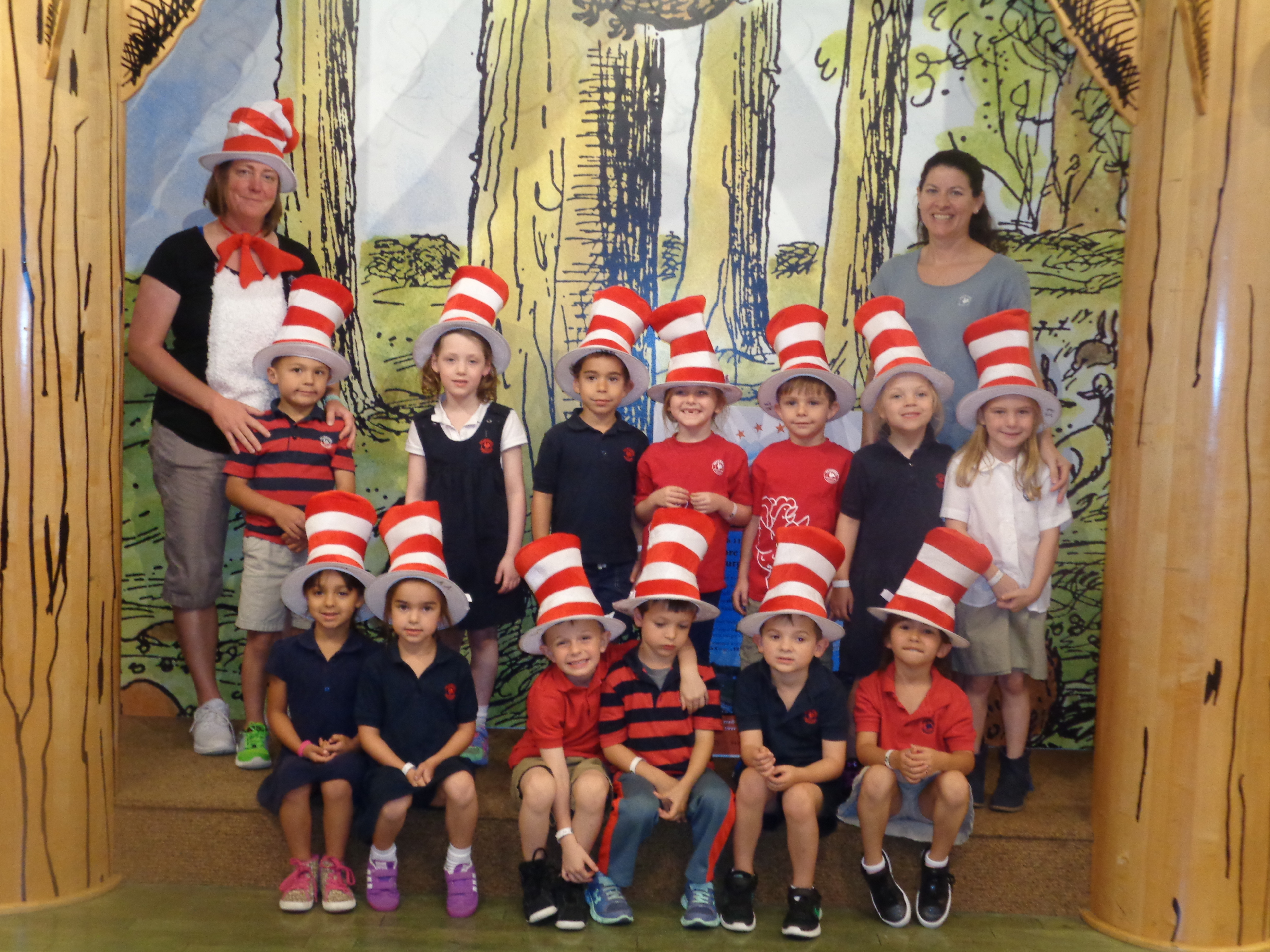 "Primrose private kindergarten class poses wearing ""Cat in the hat"" inspired hats for Read across America day"