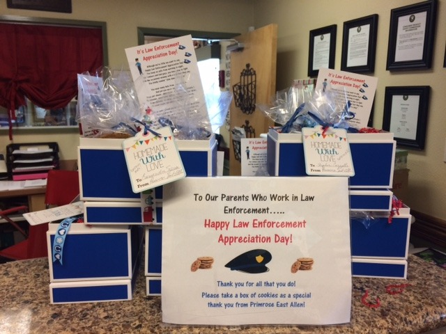 Boxes of goodies for police officers on law enforcement appreciation day
