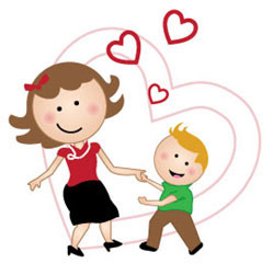A cartoon mother and son dance together surrounded by hearts