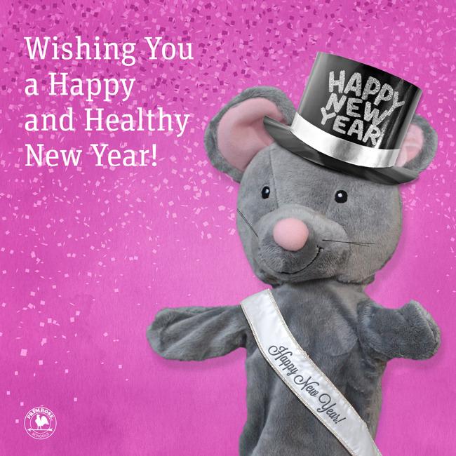 Primrose puppet wishing everyone happy new year