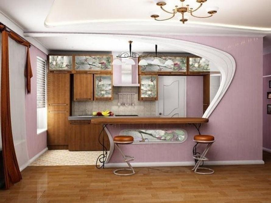 Зонирование гостиной и кухни фото