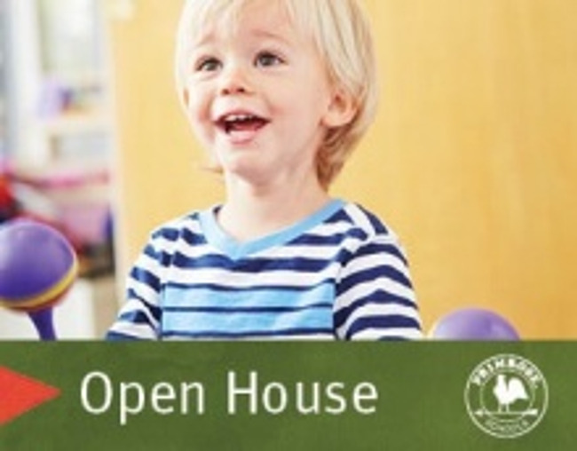 Open house poster featuring a young boy playing the shakers