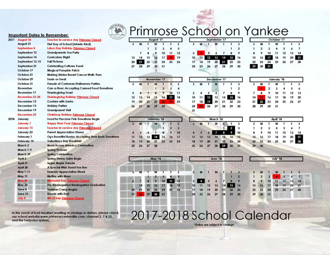 Primrose school of Yankee's yearly calendar