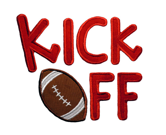"""Red letters spell """"Kick off."""" The """"o"""" in off is a football."""
