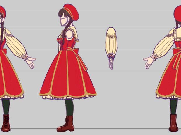 ファンタジー創作絵本『少女の幻想世界紀行』少女デザイン三面図