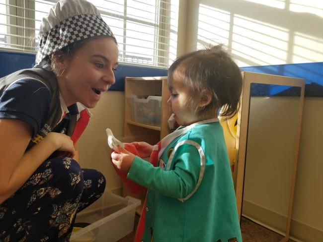 Photo of pretend play happening at Primrose School of Wichita