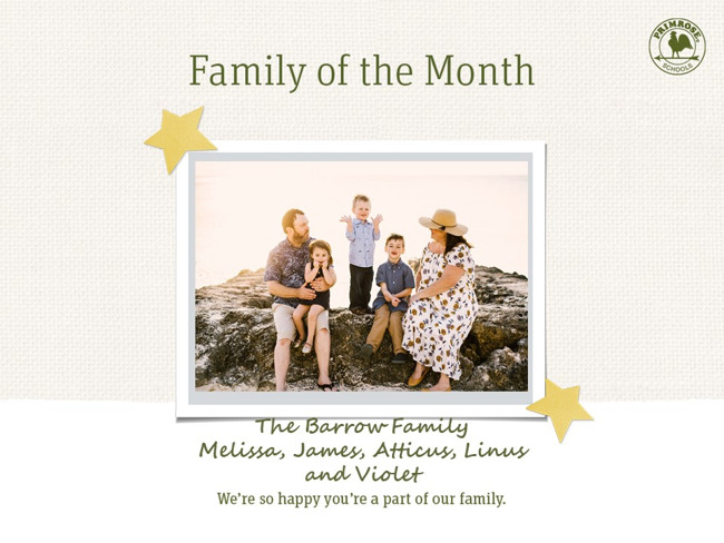 Congratulations Barrow Family on being our December Family of the Month!
