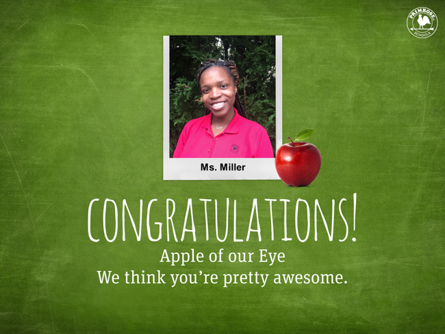 Apple of our eye poster featuring Ms. Miller