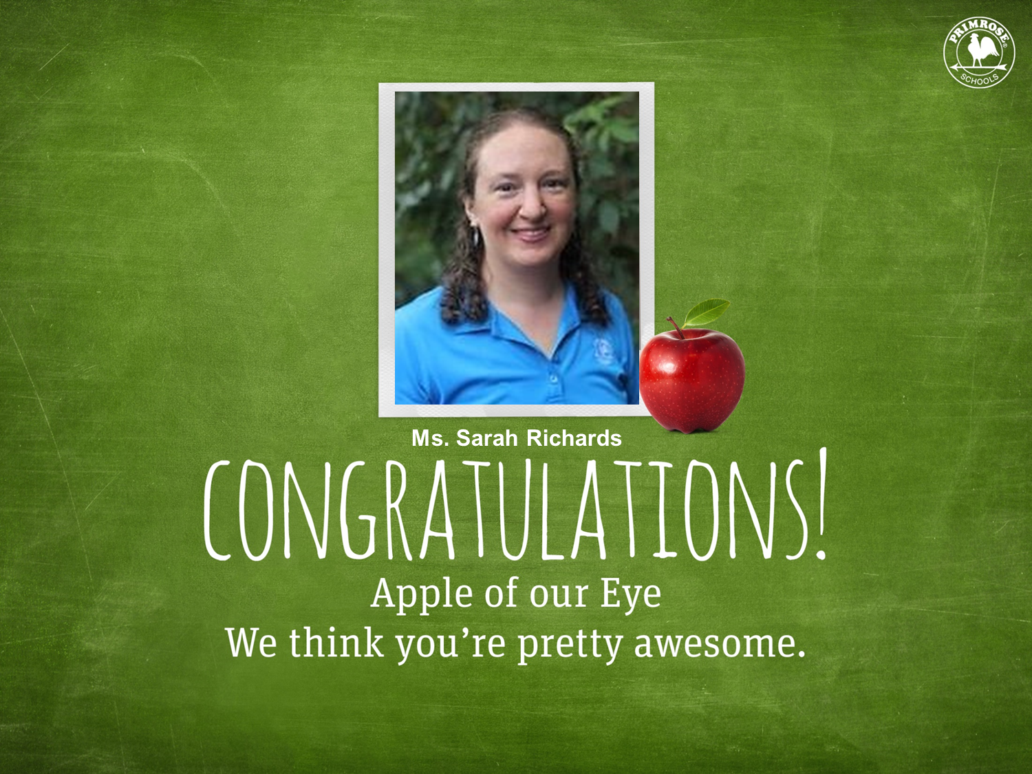 Ms. Sarah Richards as the January Apple of Our Eye