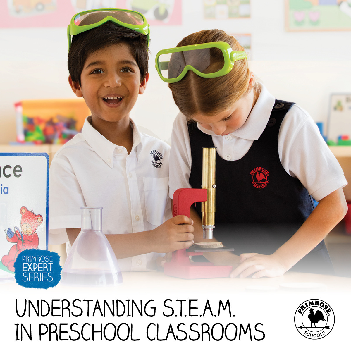 S.T.E.A.M poster featuring a young Primrose student smiling as his classmate looks through a microscope