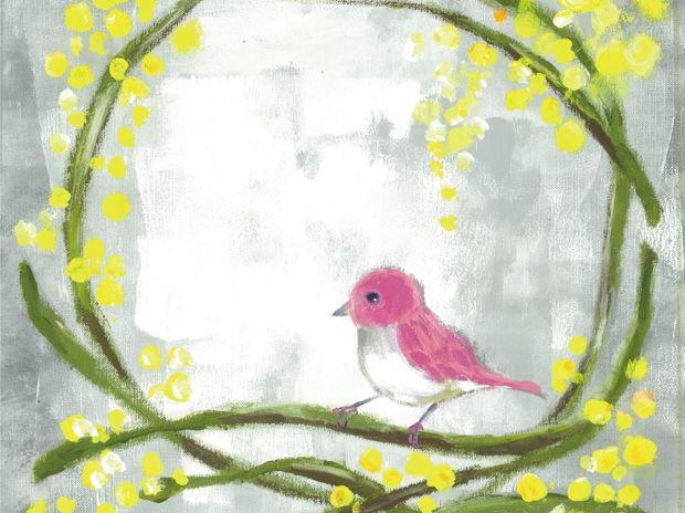 ミモザと桃色の小鳥