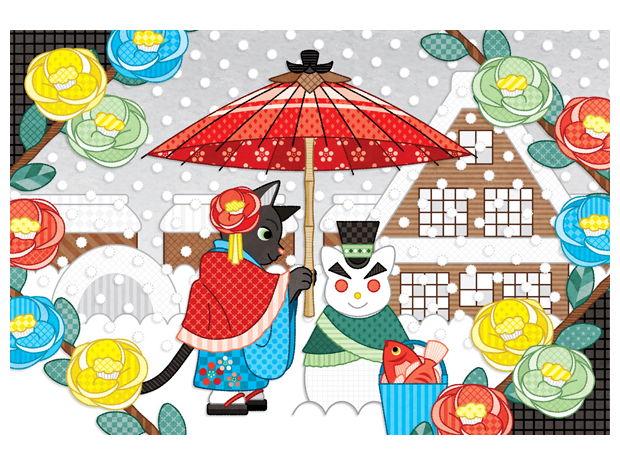 春夏秋冬四季の猫のイラスト集「猫雪達磨と相合傘」(リメイク)