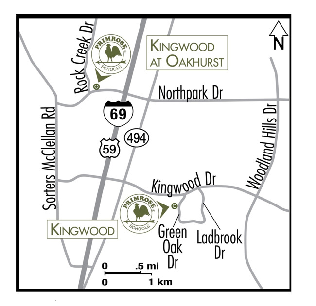 Map depicting the location of the Primrose schools at Kingwood and Kingwood at Oakhurst