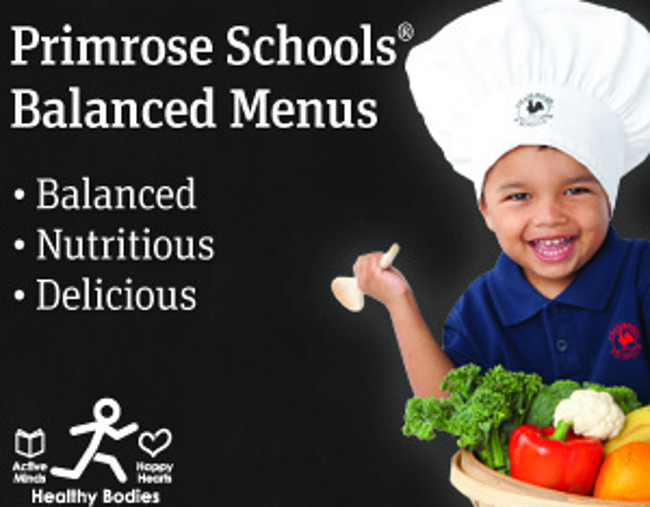 Primrose schools balanced menus poster featuring a young Primrose student with a chef's hat holding a vegetable basket