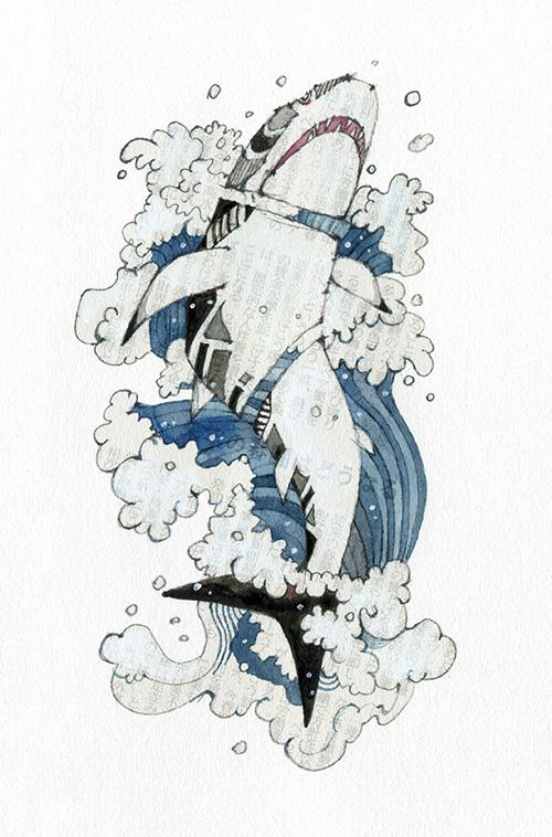 鷲崎健著「成すも成さぬもないのだが」第三回 挿絵01 「ホオジロザメ」
