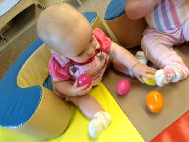 The infants first egg hunt at school.  They used the eggs as musical instruments by shaking the eggs.