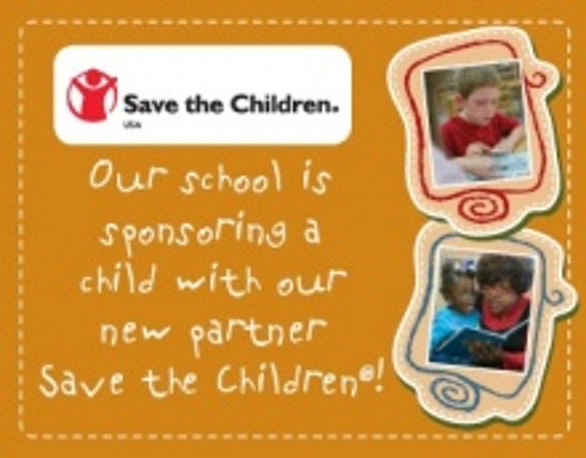 Poster stating that Primrose school of Worthington sponsors one child in association with Save the Children Foundation