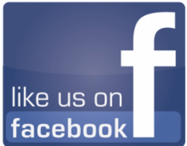 Like us on Facebook poster with the Facebook logo