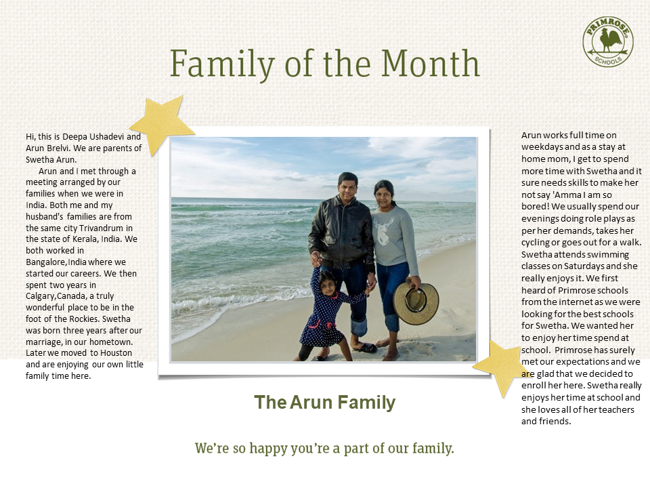 Text that gives a general family bio while the middle has a family portrait of mom, dad, and child on the beach