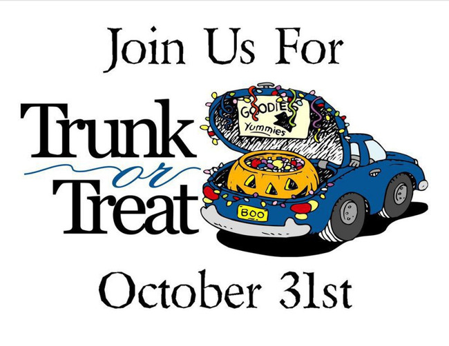 Our annual Parade of Costume/Trunk or Treat will be Wednesday Oct 31