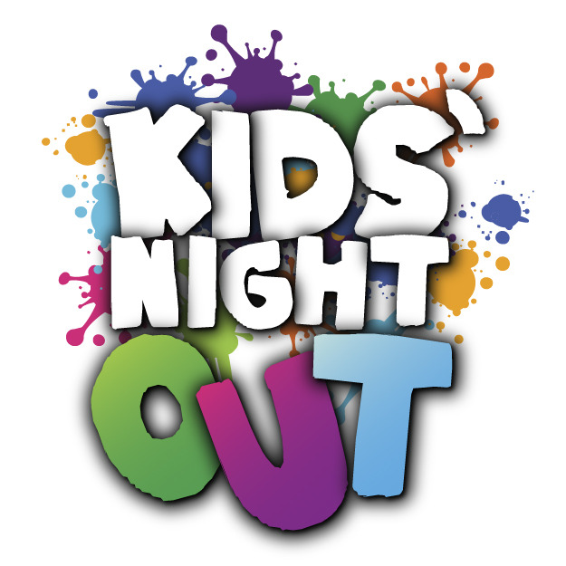 "Colorful letters spell ""Kids Night Out"" with colorful paint splatters behind them."