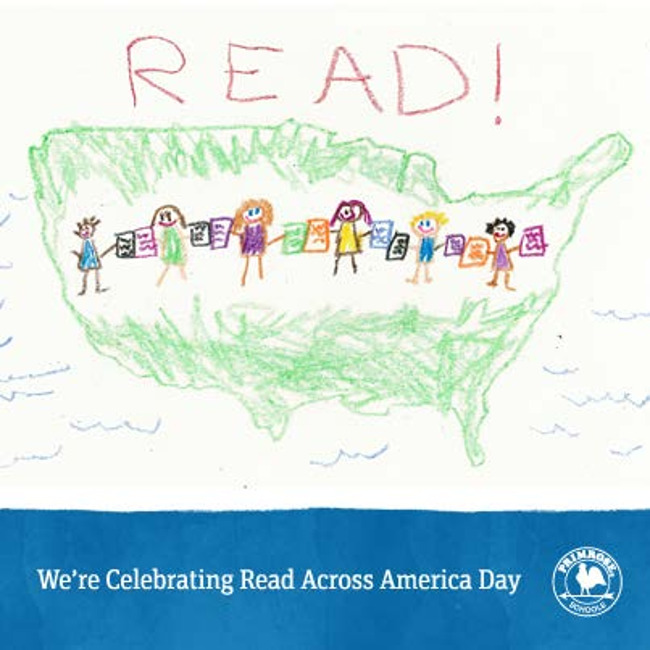 Child's drawing of little boys and girls standing with books in their hand with the outline map of America drawn around them