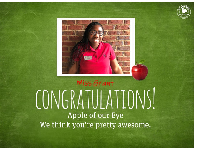 Congratulations Ms. Grant on being our December Apple of our Eye!