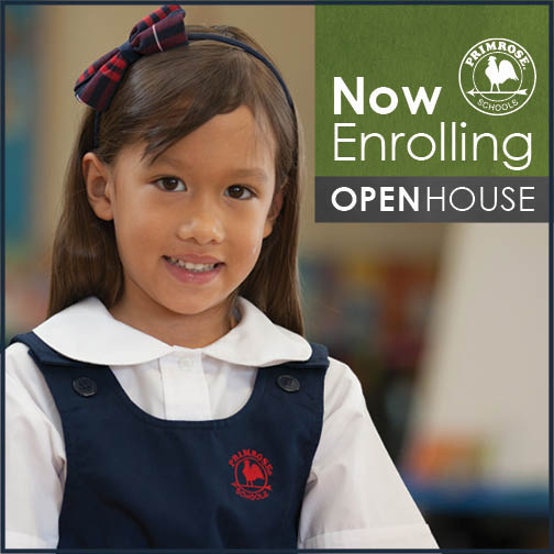 Now enrolling poster featuring a smiling young Primrose student