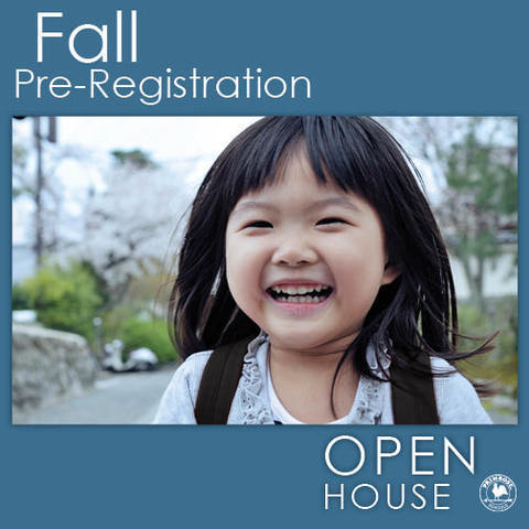 Open house poster featuring a smiling young girl wearing a backpack