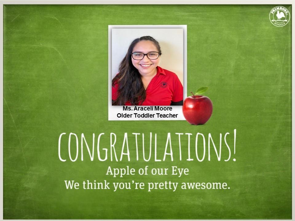 apple of our eye December dedicated teacher preston meadow primrose schools