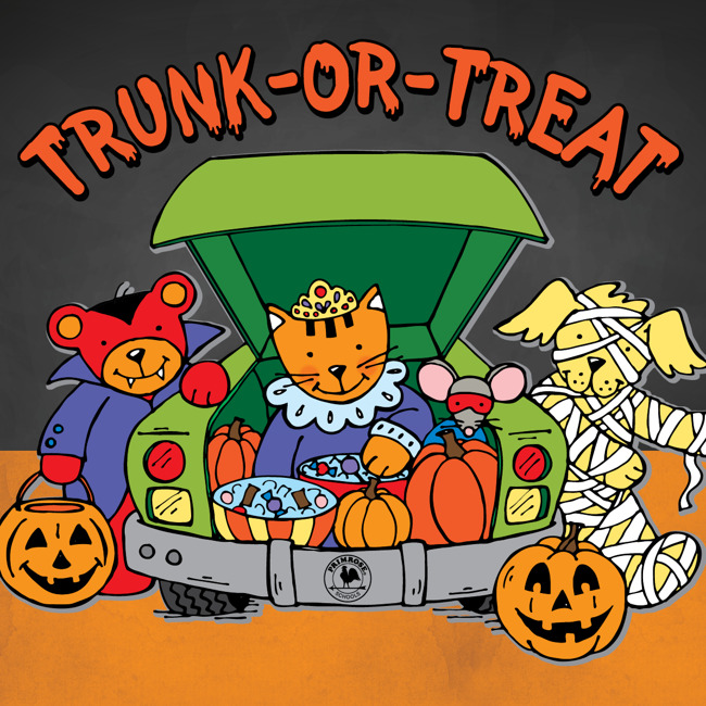 Illustrated trunk or treat poster
