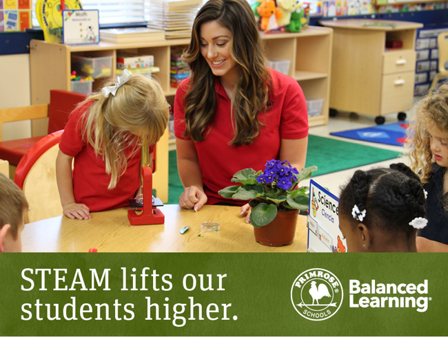 STEAM poster featuring a Primrose teacher smiling as her student looks at a leaf through a microscope