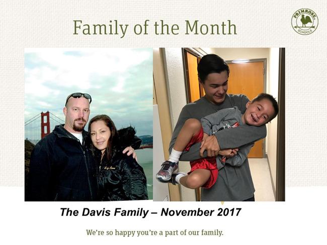 The Davis family, family of the month for November