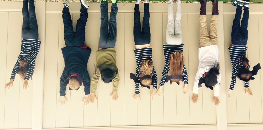 The Kindergarten class is just hanging like bats.