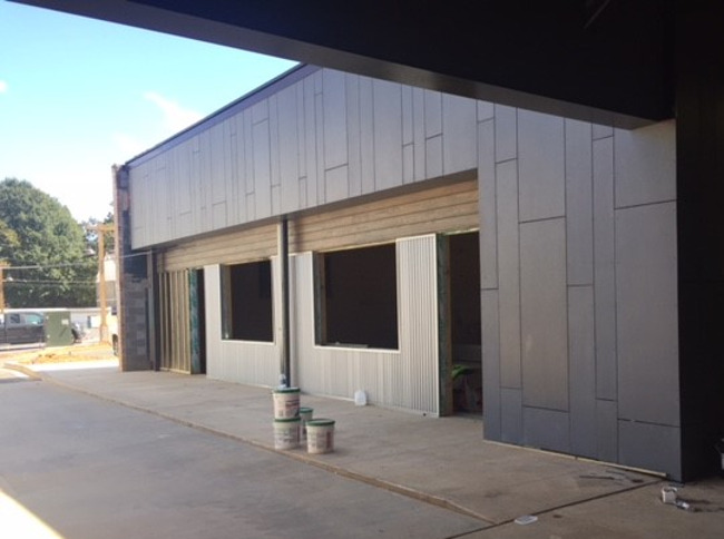 front exterior of the school under construction