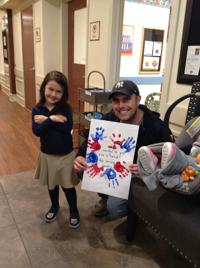 The Preschool children made a thank you card for the families at Primrose School that are in the military.
