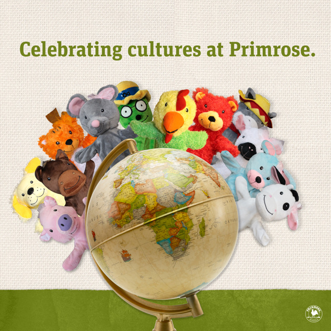 """Various animal puppets sit on a globe underneath the caption """"Celebrating Cultures at Primrose"""""""