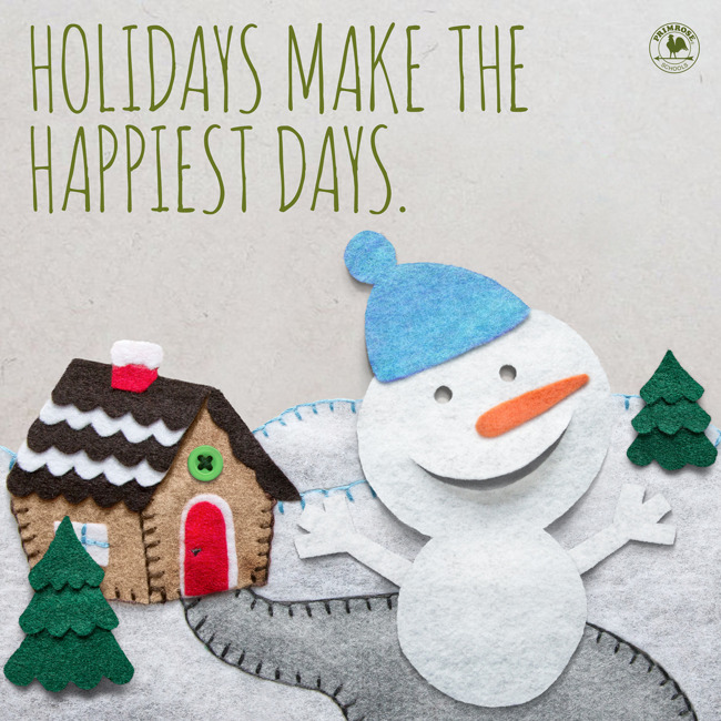 A poster made with felt depicting a happy snowman for holiday closing
