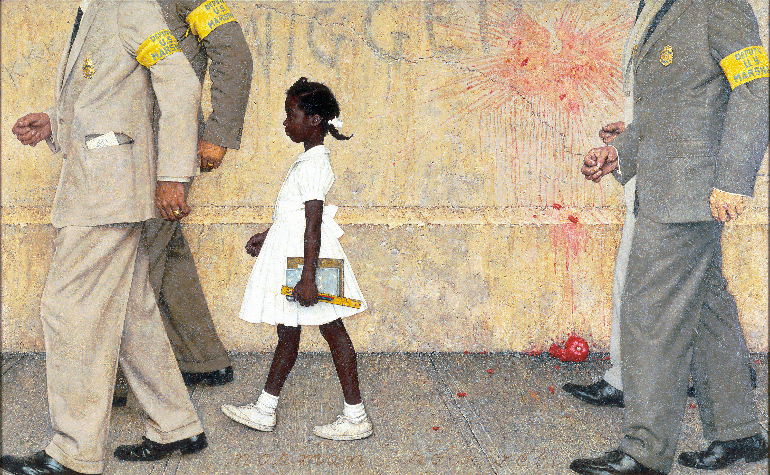 Norman Rockwell (1894-1978), The Problem We All Live With, 1963, oil on canvas, 36 x 58 inches. Norman Rockwell Museum Collections. American Chronicles: The Art of Norman Rockwell ​has been organized by the Norman Rockwell Museum in Stockbridge, Massachusetts.