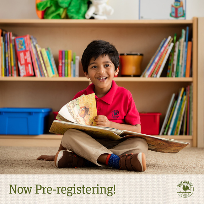 Now pre-registering poster featuring a young Primrose student sitting on the floor, smiling and turning the page of a book