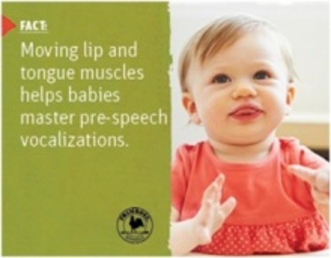 Poster stating a scientific fact about speech development in toddlers next to a little girl blowing raspberries