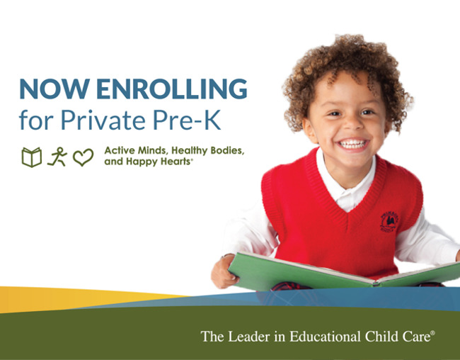 Now enrolling poster featuring a smiling young Primrose student with a book on her lap