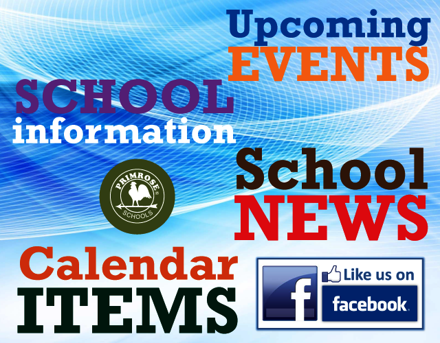 Poster describing the kind of information available on the school's Facebook page